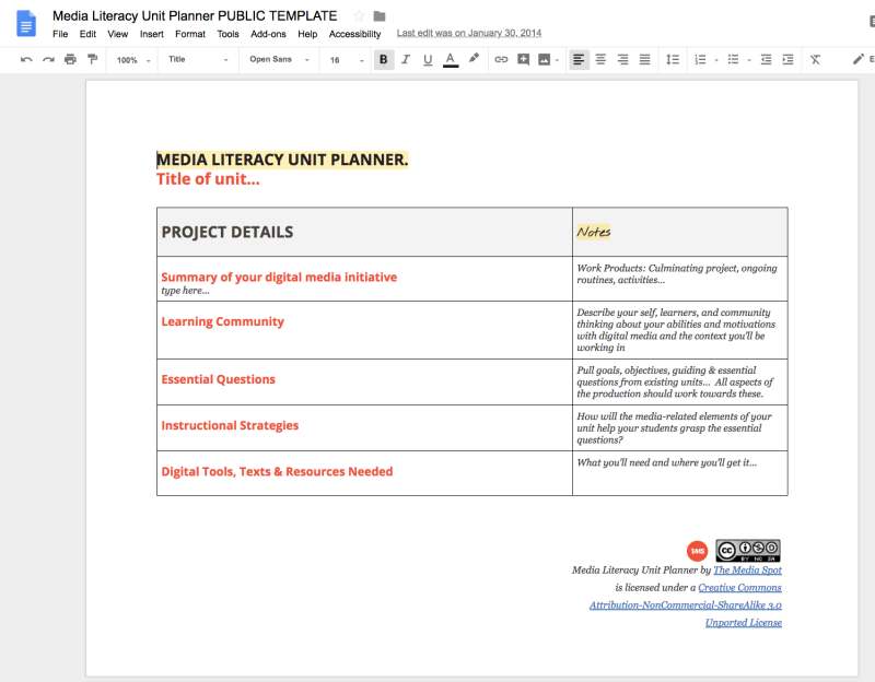 The TMS Media Literacy Unit Planner