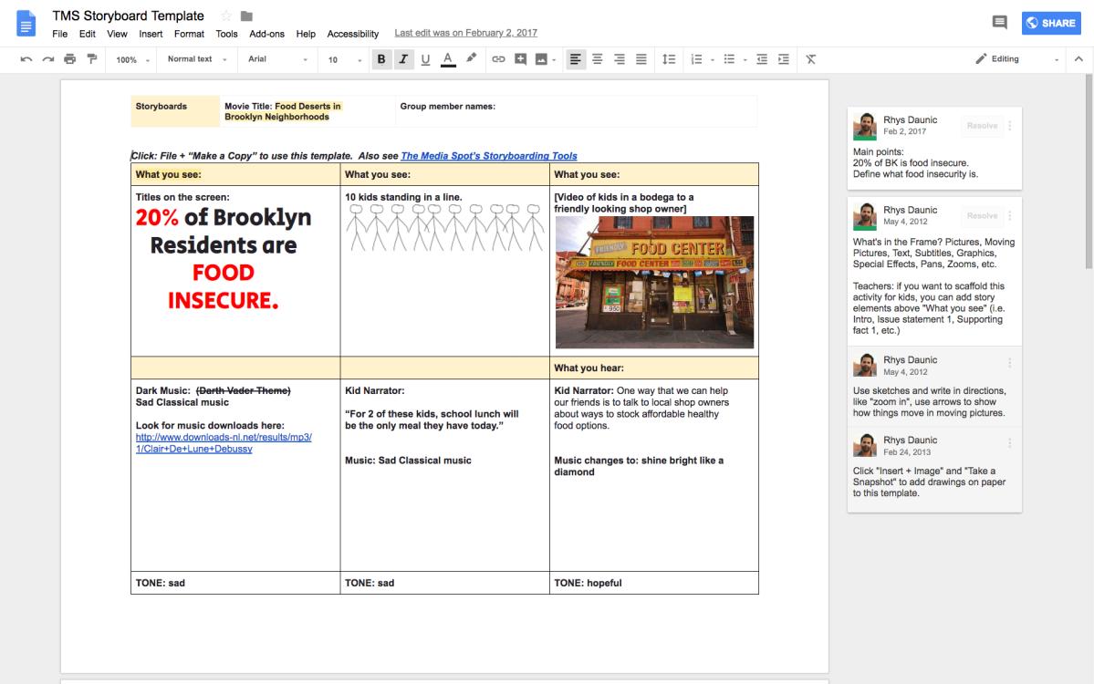 Digital Storytelling Bedrock: StoryboardingResources.