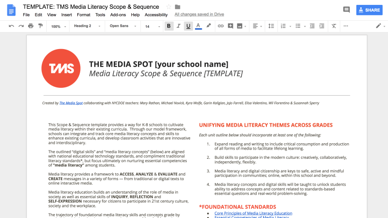 Media Literacy Scope & Sequence Template (Updated 2018)