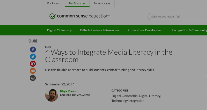 TMS Article on K-12 Media Literacy for Common SenseEducation