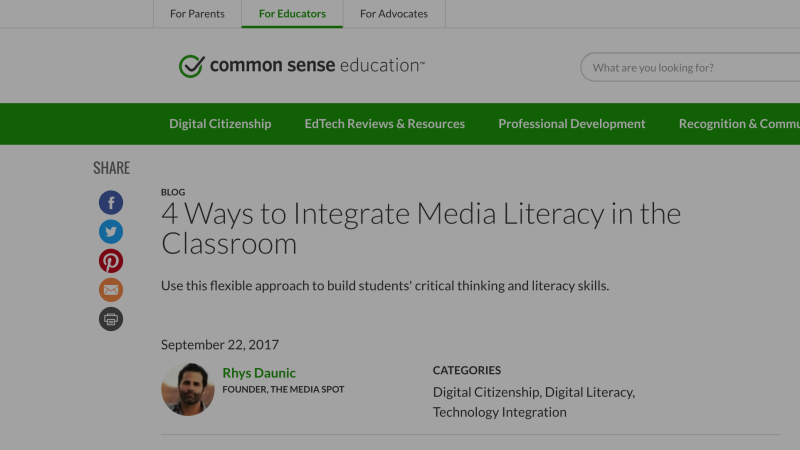 TMS Article on K-12 Media Literacy for Common Sense Education