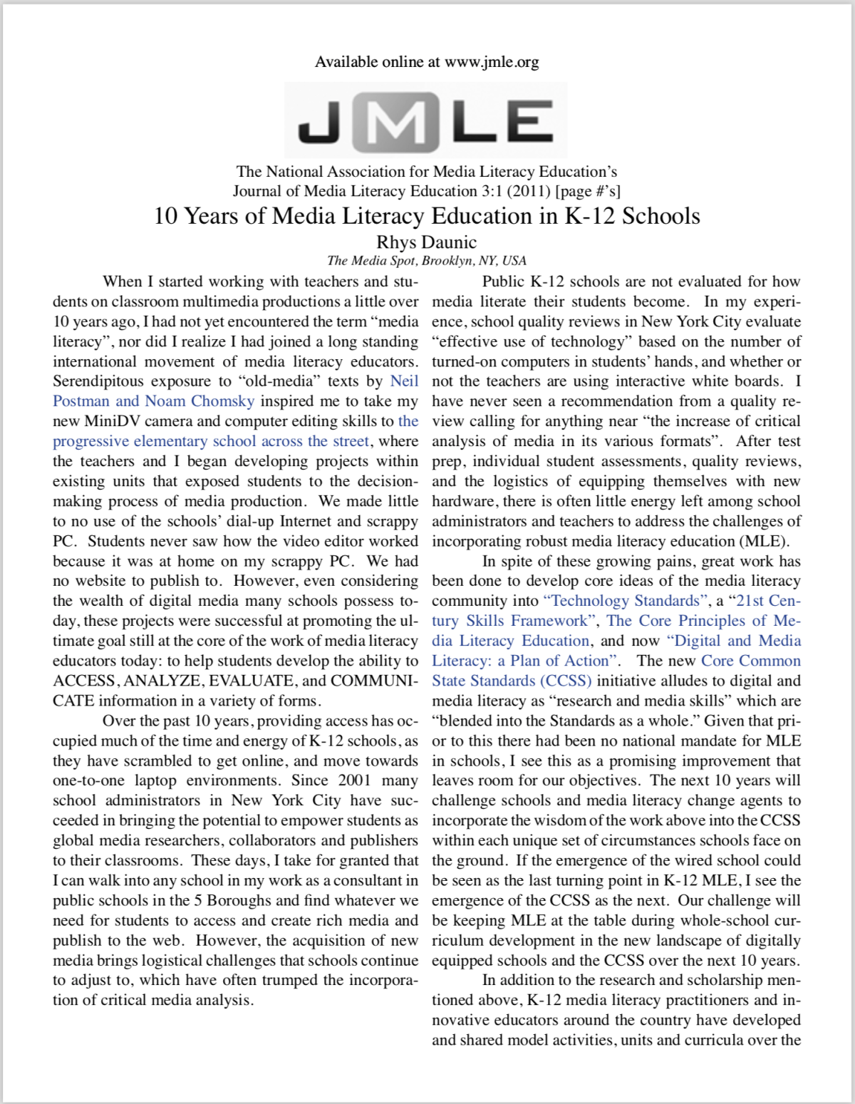 TMS + 10 Years of Media Literacy Education in the Journal of Media LiteracyEd.